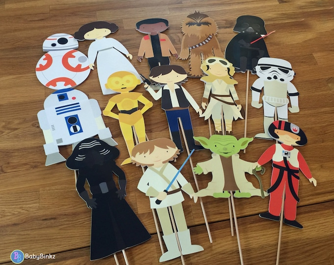 Photo Props: The Star Wars Character Set (14 Pieces) - party wedding birthday jedi force light saber BB8 R2D2 CP3O centerpiece awakens