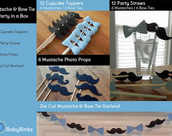 Mustache & Bow Tie Small Party in a Box - Little Man Mustache Bow Tie Decorations Party Package Set die cut bow tie mustache blue black