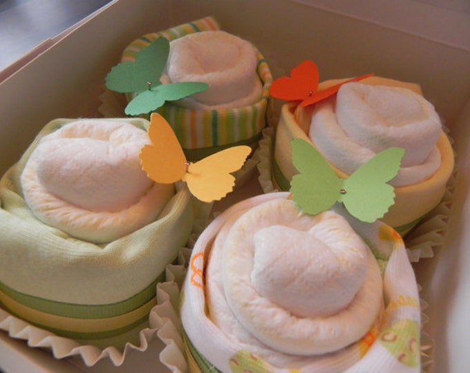 Diaper & Bodysuit Cupcake Gift Set - Unique Baby Shower Gift