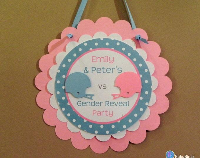 Door Sign: Gender Reveal Party - Team Blue versus Team Pink Football Game Party Decorations die cut football helmet blue pink