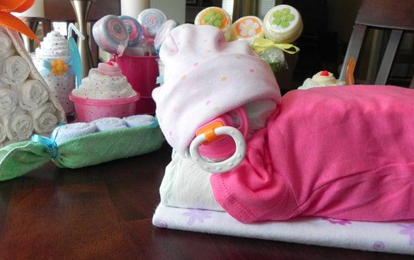 Sleeping Baby Diaper Cake Baby Blanket Bodysuit Hat Socks Etsy