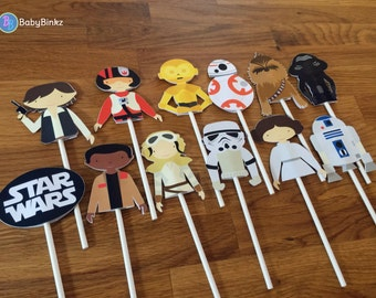 Cupcake Toppers: The Star Wars Set - party wedding birthday jedi force BB8 R2D2 CP3O Rey Leia storm trooper awakens starwars