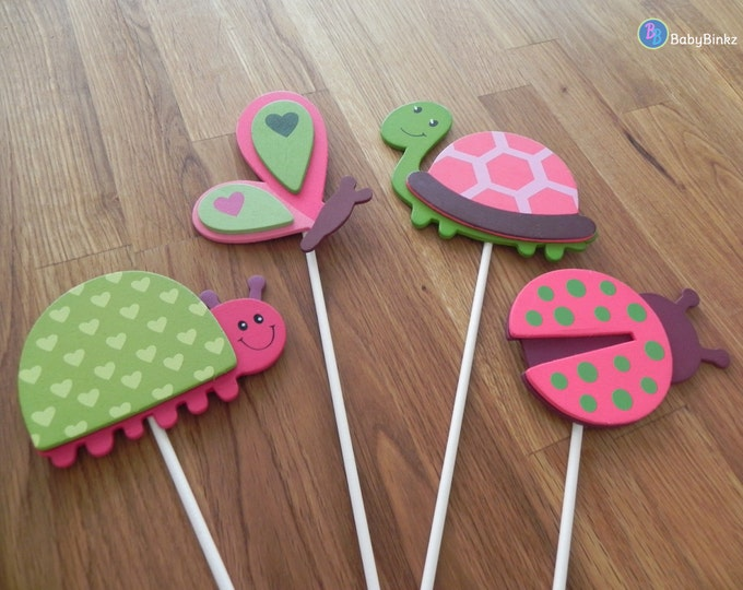 Cute Pink Bug & Turtle Shapes - Ladybug Butterfly Cake Toppers or Party Decorations baby shower birthday party