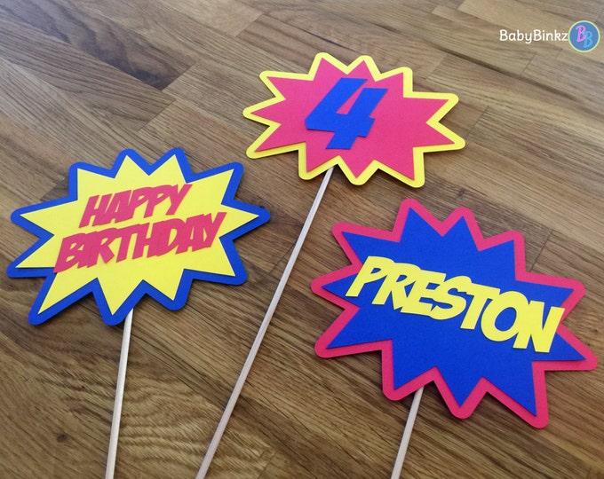Photo Props: The Personalized Superhero Phrase Set (3 Pieces) - party wedding birthday mask pow bam zap centerpiece custom personalize