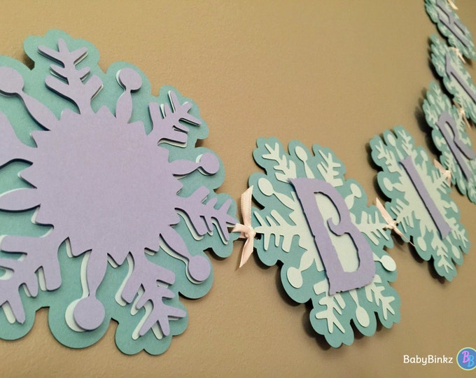 Frozen Inspired Winter Wonderland Banner - Happy Birthday Snowflake Banner aqua purple lilac die cut custom ribbon disney inspired