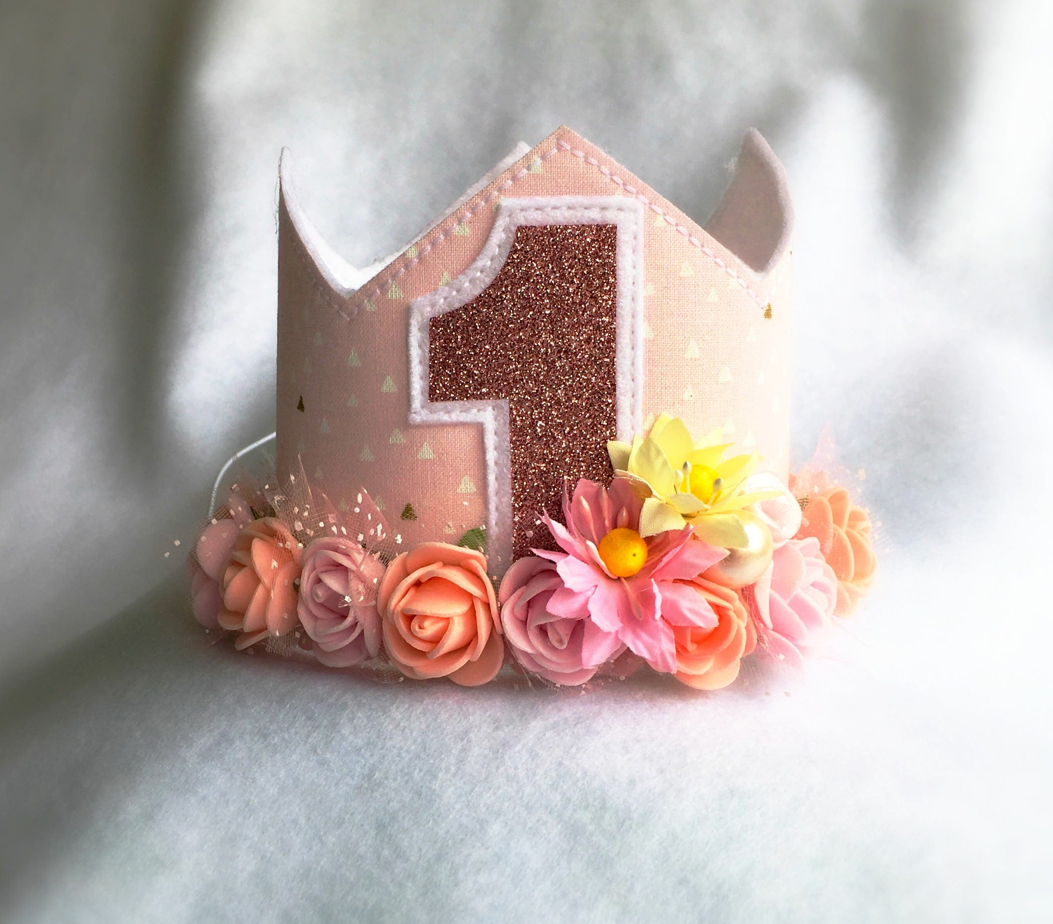 1st Birthday Flower Crown Rose Gold and Pink Flower Wreath  626a0acbc15