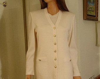 0fb7ab87ed60 St John Knit Cream - Winter White - Off White - Sleeveless Dress and  Cardigan Jacket Set size 8