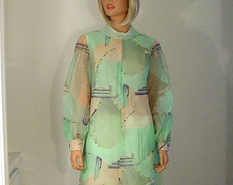 Mint Green Print Chiffon Maxi Hostess Dress