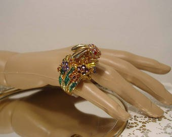 Huge Couture Crystal Bunny in a Garden Statement Ring