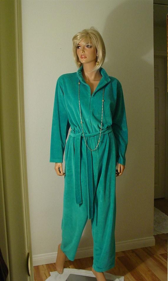 Mid Century Turquoise Velour Velvet Jumpsuit
