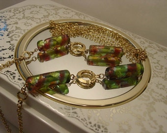 Mid Century Long Gold Tone Glass Lampwork - Opera Length - Flapper - Necklace