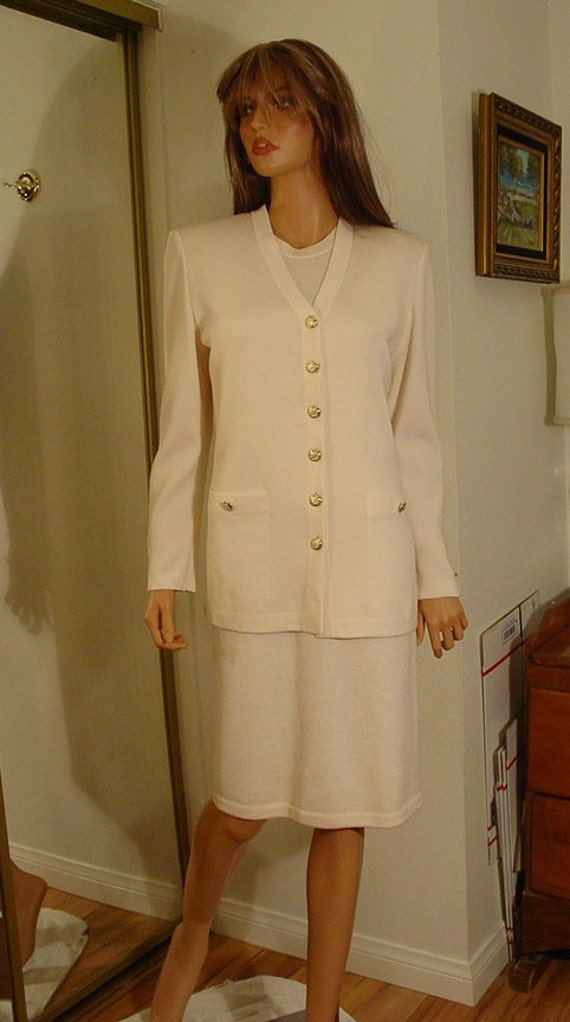 fd090357c4a0 St John Knit Cream Winter White Off White Sleeveless
