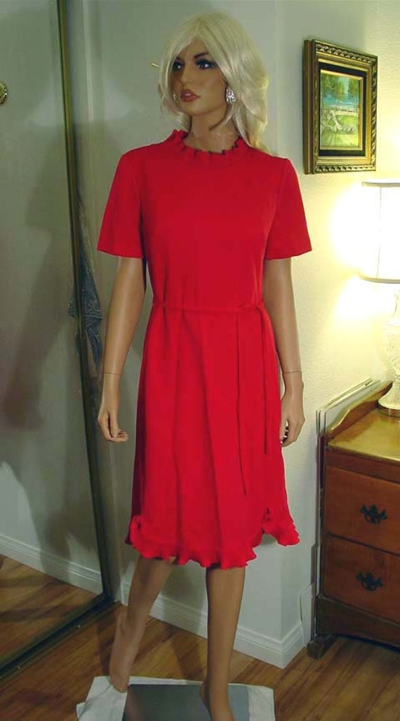 Edith Flagg California Raspberry Red Dress with Ru