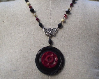 SALE Vintage Rosary and Button Necklace Jewelry: Black and Burgundy Wine Flower Necklace