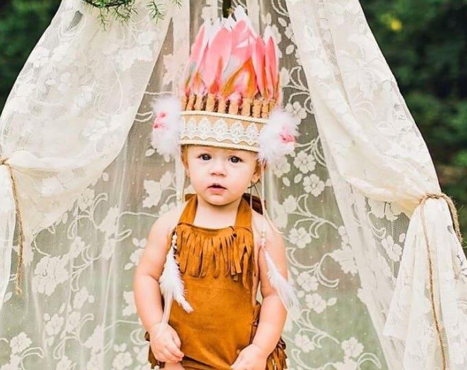 Baby toddler Feather Headband, Baby Costume, Children Feather Headbands, Kids Costume, Coral Feather Headband