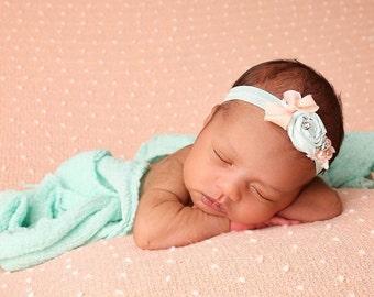 Mint and peach baby headband, newborn headband, flowergirl headband, girls headband, infant headband