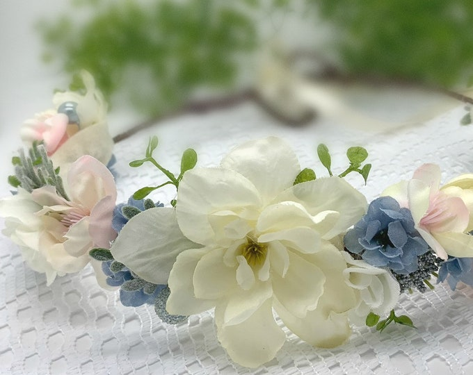 Ivory Light Pink and Dusty blue flower crown,Flower girl crown,Flower crown, Bridal Crown,Newborn Crown,Birthday Crown,flower girl headpiece