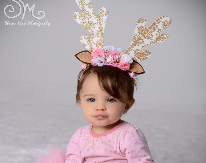 Pink and Gold Christmas Reindeer Antler Headband, girls Christmas headband