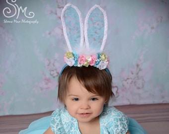 Easter Bunny Ears Headbands, Blue Bunny Ears, Pink and Blue flowers, vintage headband, Easter Headband, Bunny Ears
