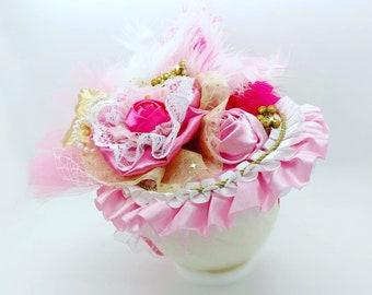 Pink and Gold Girls Hat Fascinator, baby Girls hat, Girls Birthday hat, Birthday Party Hat, Derby Hat, Tea Hat,Tea party Hat,1st Birthday