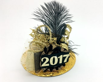 New Years Hat, Mini Top Hat, Hat Fascinator, 2018, Happy New Years, New Years Black And Gold Hat