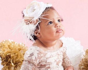 White Ivory Gold Baby Headband, Newborn Headband, Christening Headband, Baptism Headband, White baby headband, Flowergirl Headband