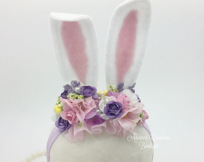 Newborn Bunny Ears Headband, Baby Bunny Ears Headband, Girls Bunny Ears Headband, Toddler Bunny Ears, Easter Headband, Photography Prop