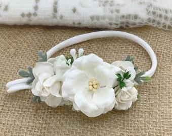 White Flower Headband, White Flower Crown,Newborn Flower Crown, Baptism Headband,Flower girl headband,Bridal Crown,Bridal Hair Clip