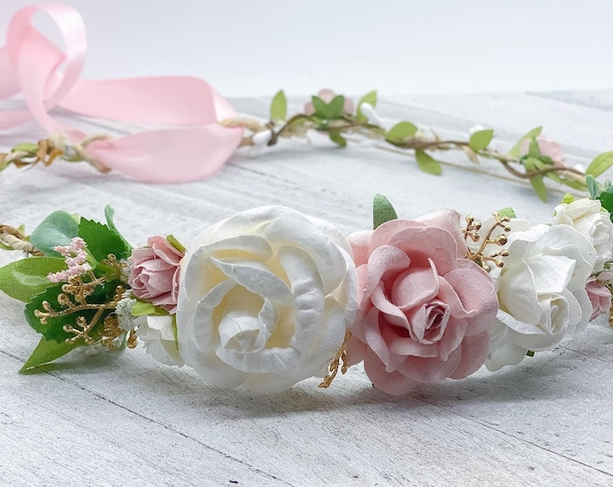 Pink and white flower crown,Bridal crown, Flower girl crown, Wedding crown, Maternity crown