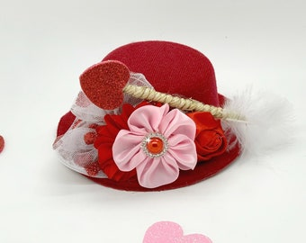 Ready to ship, Valentines Day Mini Top Hat, Valentines prop, Girls Valentines Hat, Pageant hat, Baby hat, Red and pink hat