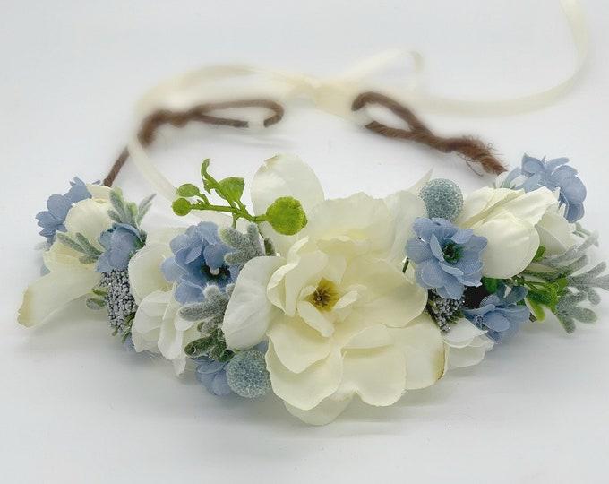 Flower Crown, Flower girl Crown, Blue and Ivory Flower Crown, Wedding crown, bridal, Ivory and blue flower crown