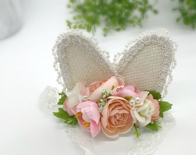 Bunny Ears Headband, Easter Headband, Easter Bunny Ears Headband, Blush Pink Bunny Headband, Flower Headband, Baby bunny headband