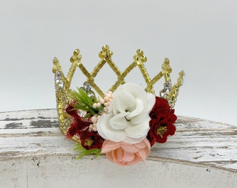 Blush and Burgundy Newborn Flower Crown, Princess Crown, Newborn Photography prop, Tiara, Photo Prop, Flower Crown, Rhinestone Crown