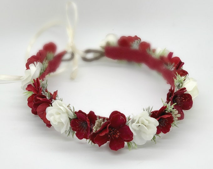 Flower Crown, Christmas Halo, Red Flower Crown, Red flower girl crown, Christmas Wedding