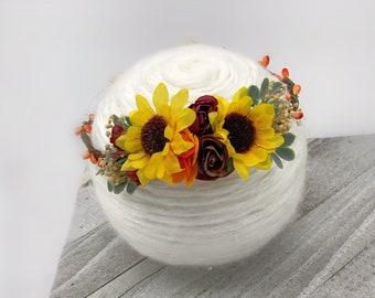 Sunflower flower crown, sunflower bridal headpiece, yellow orange burgundy flower crown, flower girl crown, sunflower halo