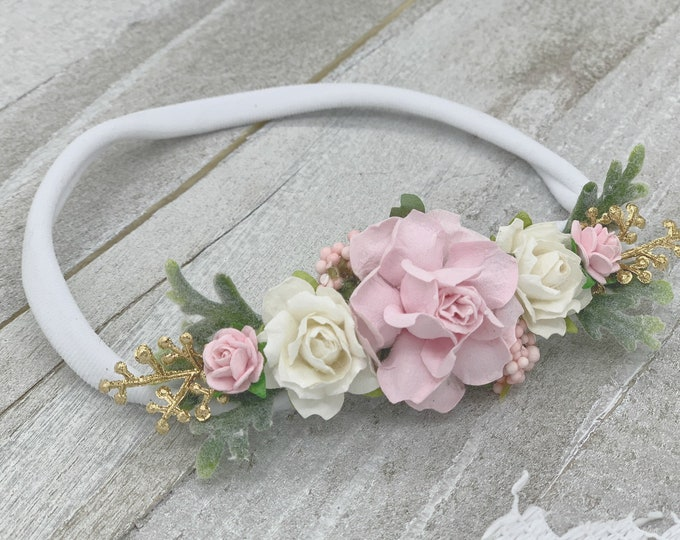 Blush and Ivory Headband, Newborn Headband, Newborn Flower Crown, Flower Hair Clip, Bridal hair Clip, Flower Girl Crwon