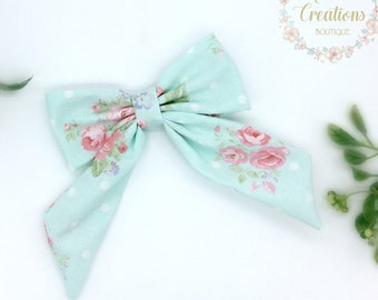 Fabric Hair Bow, Hair Clip, Mint Blue Floral Hair Bow, Aqua Blue and Pink, Girls Hair Bow, Sailor Bow