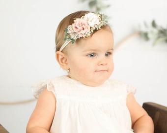 Blush Pink and Gold newborn Headband,  flower crown, Baby Girl headband, Flower Girl Headband, Wedding Headband, Photography Prop, Hair Clip