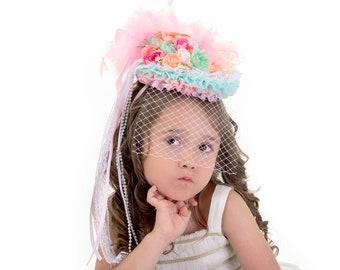 Girls Birthday Hat, Girls Tea Hat, Little Girls Party Hat, Pastel Derby Hat, Pastel Tea hat