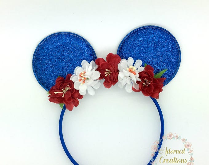 4th of July Minnie Ears, Red White Blue Minnie ears, Patriotic Minnie Ears, Mickey ears