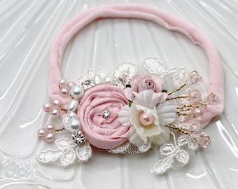 Pink Baby Headband, Newborn Headband, Nylon Headband, Baby Girls Headband, Newborn Flower Crown, Pink baby headbands
