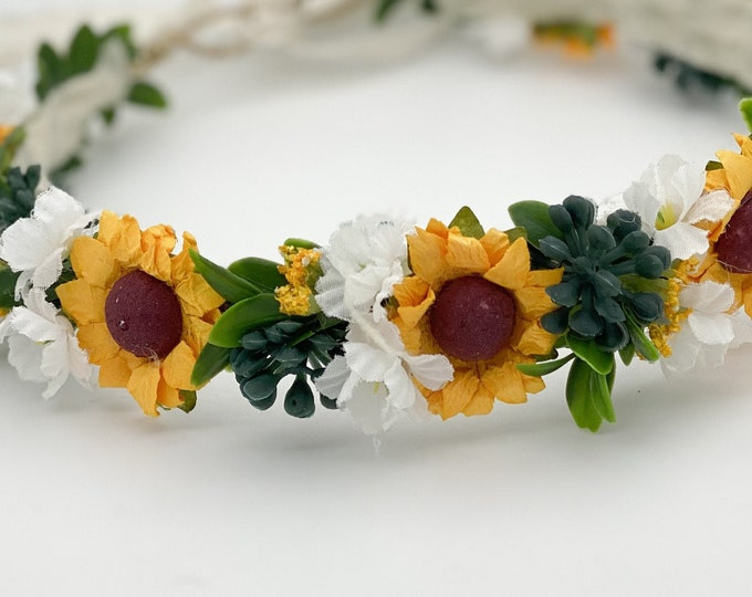 Sunflower flower crown, sunflower bridal headpiece, flower crown, flower girl crown, sunflower halo, Sunflower Headbands