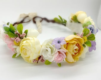 Spring Flower Crown, Floral Crown, Flower Girl, Bridal Flower crown. Pink yellow lavender