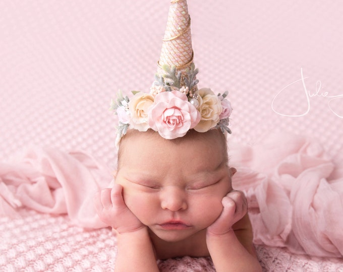 Baby Unicorn Headband, Newborn Unicorn Horn Headband, Unicorn Horn Headband Photo prop, Pink Unicorn Headband