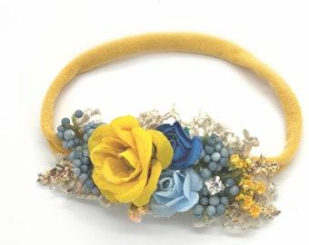 Baby Headband, Newborn Headband, Nylon Headband, Baby Girls Headband, Newborn Flower Crown, Blue and yellow Flower crown headband