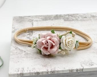 Petite blush pink and beige baby Headband, Newborn Headband, Nylon Headband, Baby Girls Headband, Newborn Flower Crown, Pink baby headband