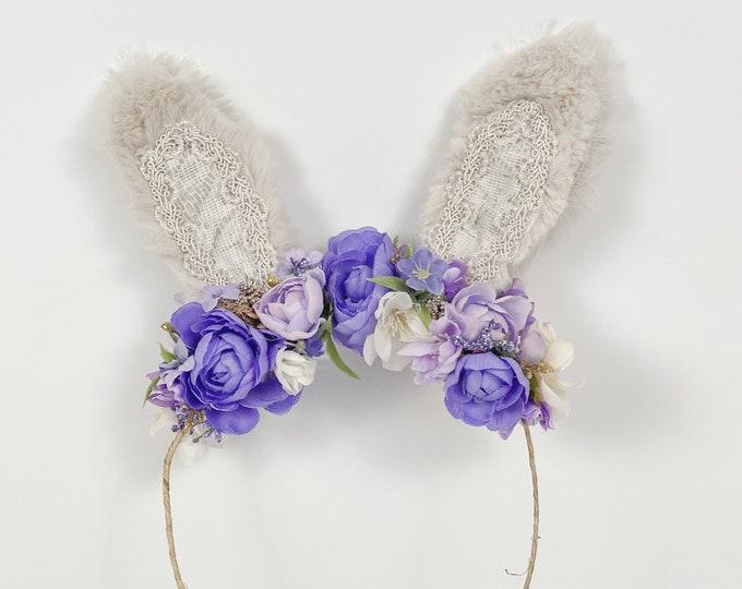Bunny Headband, Baby Bunny ears headband, Girls bunny ears headband, Purple bunny ears headband, Easter Bunny headband