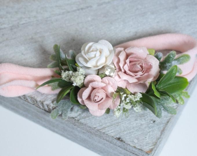 Pink and Ivory Flower Headband, Newborn Flower Crown, Newborn Headband, baby flower headband, Flower girl headband, Flower Crown