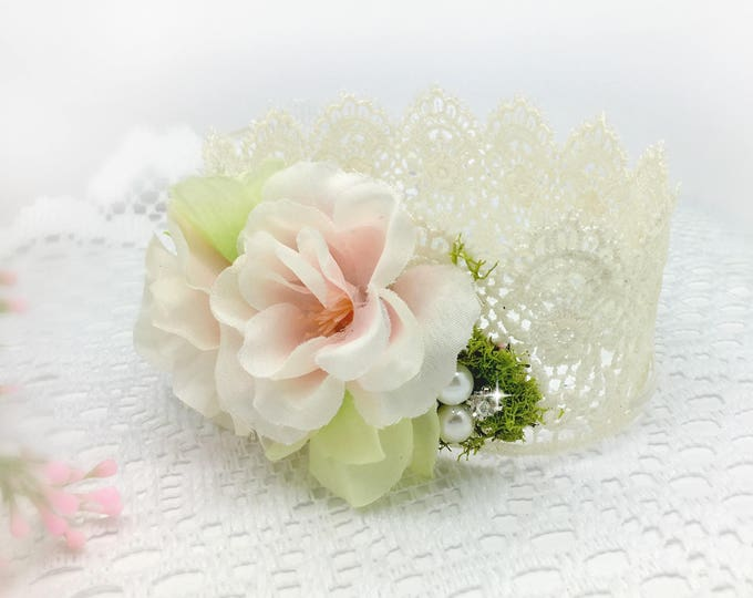 Newborn Flower Crown, Mint and Blush Pink, Baby Crown, Newborn Props, Flower crown