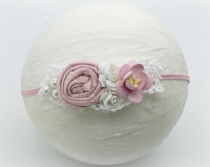 Pink and white newborn headband, baby headband, girls headband, petite headband, small flower headband